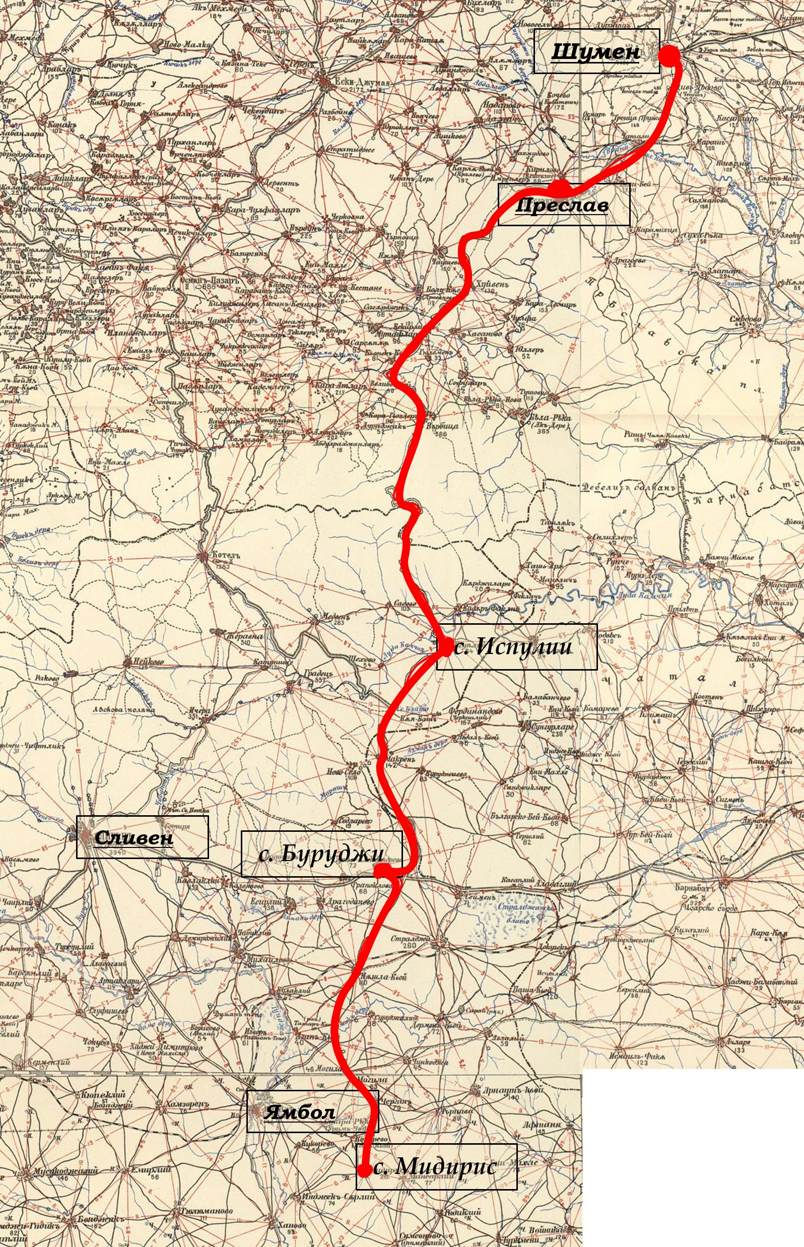 Карта на съсредоточаването на 5-и артилерийски полк